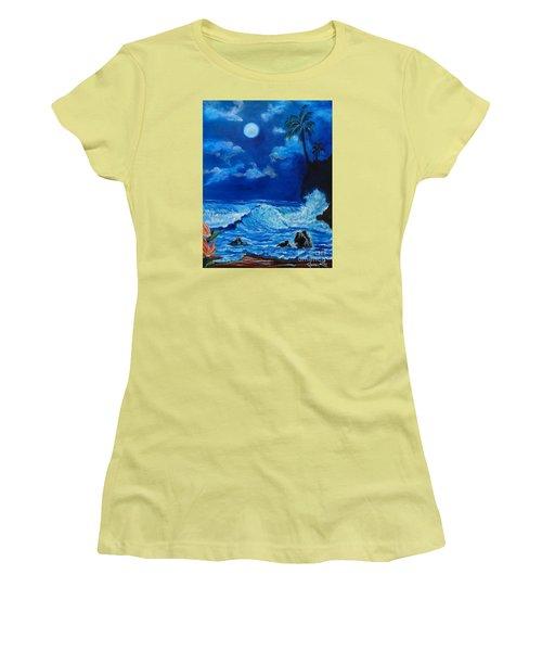 Moonlit Hawaiian Night Women's T-Shirt (Athletic Fit)
