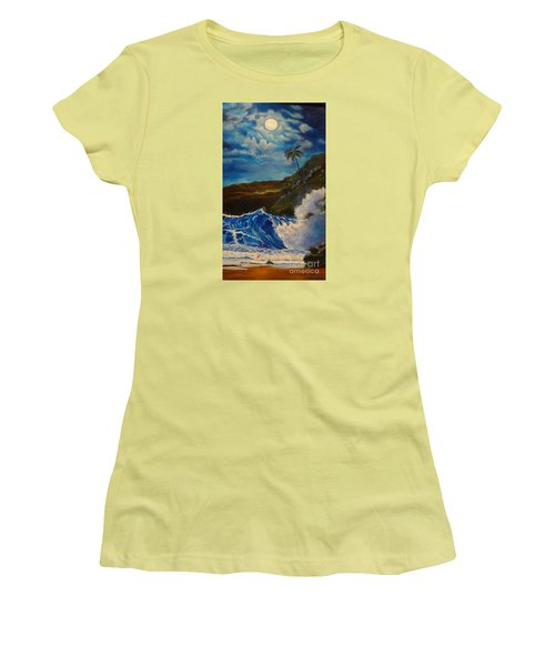 Women's T-Shirt (Junior Cut) featuring the painting Moonlit Wave 11 by Jenny Lee