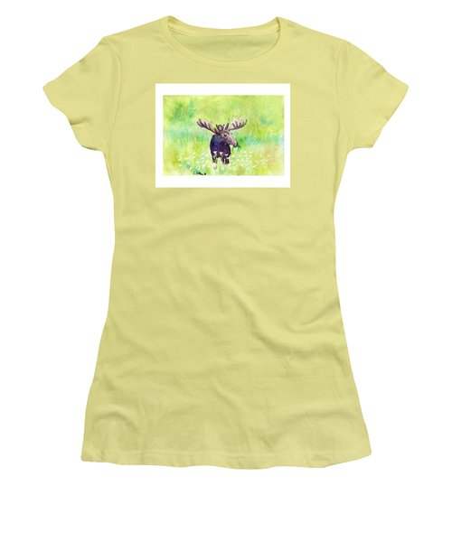 Women's T-Shirt (Junior Cut) featuring the painting Moose In Flowers by C Sitton