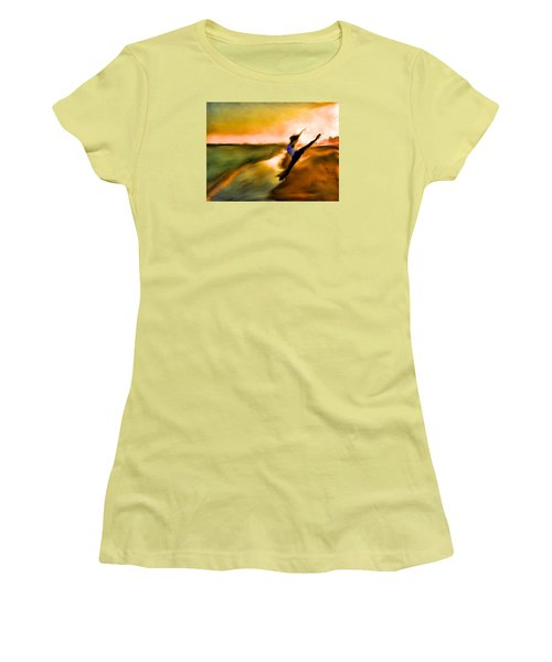 Women's T-Shirt (Junior Cut) featuring the mixed media Moose In Law by Terence Morrissey