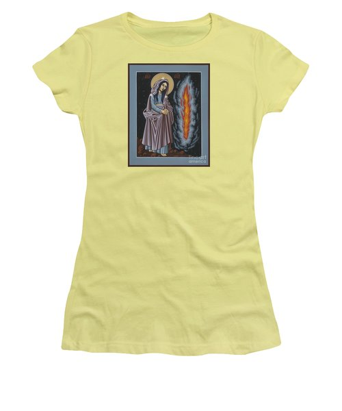Women's T-Shirt (Junior Cut) featuring the painting Mother Of God Of Kosovo 087 by William Hart McNichols