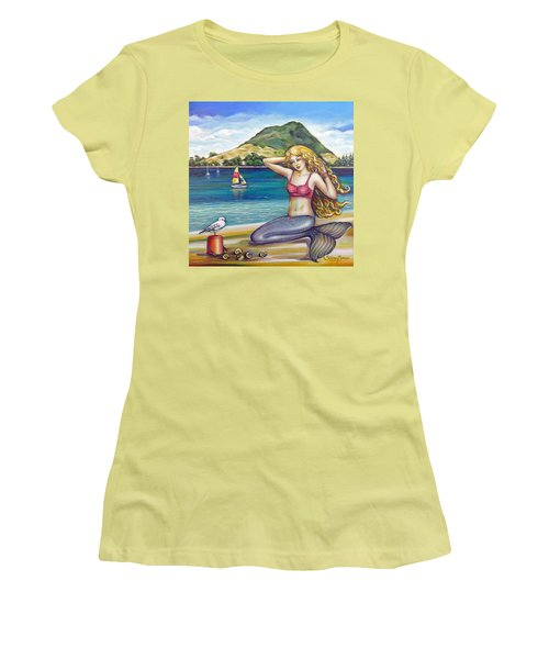Mount Maunganui Beach Mermaid 160313 Women's T-Shirt (Junior Cut) by Selena Boron