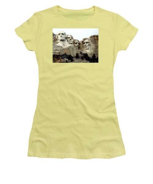 Women's T-Shirt (Junior Cut) featuring the photograph Mount Rushmore Presidents by Clarice  Lakota