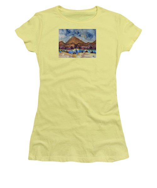 Women's T-Shirt (Junior Cut) featuring the painting Mountain Desert Scene by Connie Valasco