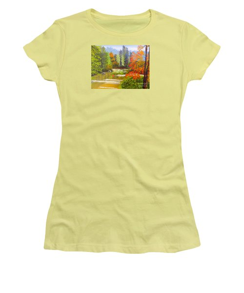 Women's T-Shirt (Junior Cut) featuring the painting Mountain Stream by Pamela  Meredith