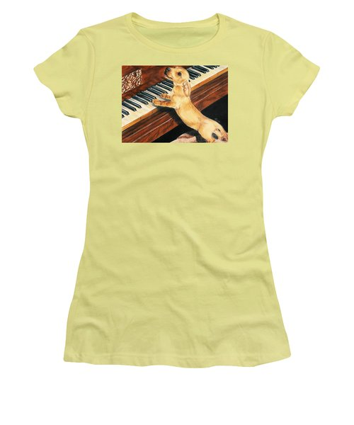 Women's T-Shirt (Junior Cut) featuring the drawing Mozart's Apprentice by Barbara Keith