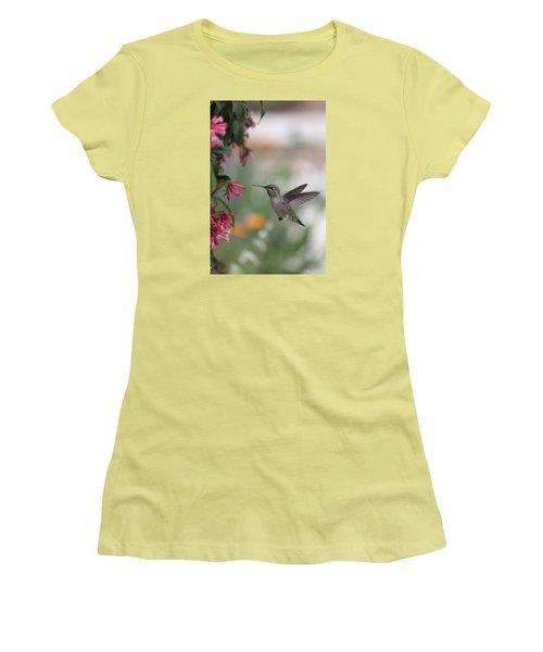 Mrs. Little Anna's Hummingbird Women's T-Shirt (Junior Cut) by Amy Gallagher
