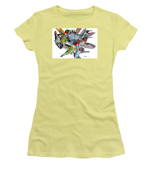 Da053 Multi-hummers By Daniel Adams Women's T-Shirt (Athletic Fit)