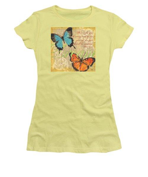 Musical Butterflies 1 Women's T-Shirt (Junior Cut) by Debbie DeWitt