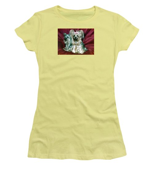 Women's T-Shirt (Junior Cut) featuring the photograph My Friends Yorkies by Phyllis Kaltenbach