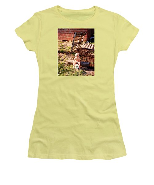 Women's T-Shirt (Junior Cut) featuring the photograph My Lil Gardener by Kelly Awad