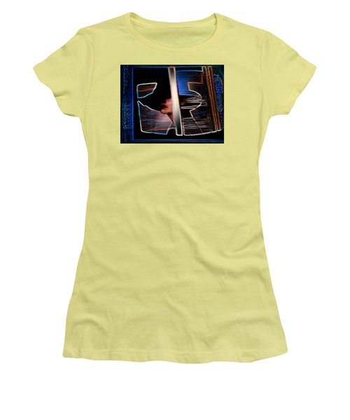 Women's T-Shirt (Junior Cut) featuring the painting Mysterious Lady by Hartmut Jager