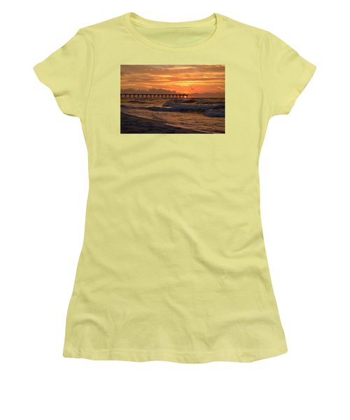 Navarre Pier At Sunrise With Waves Women's T-Shirt (Junior Cut) by Jeff at JSJ Photography