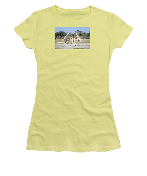 Women's T-Shirt (Junior Cut) featuring the photograph Necking Giraffes Botswana by Liz Leyden