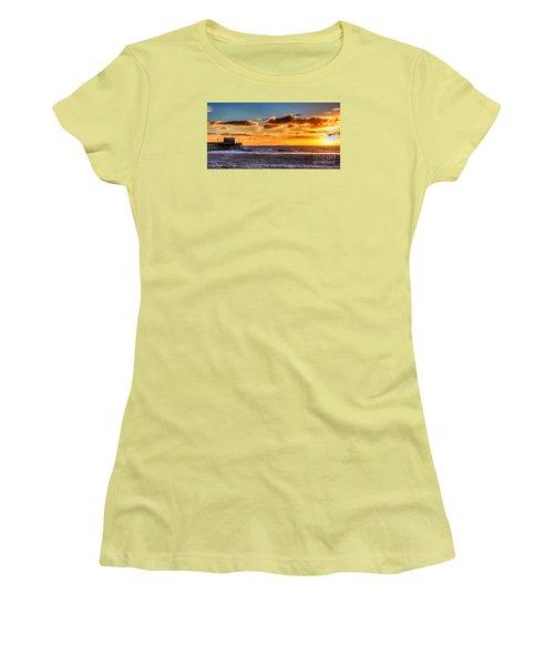 Newport Beach Pier - Sunset Women's T-Shirt (Junior Cut) by Jim Carrell