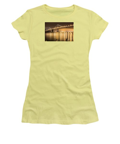 Women's T-Shirt (Junior Cut) featuring the photograph Night Descending On The Bay Bridge by Suzanne Luft