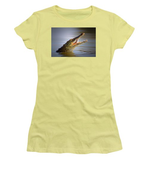 Nile Crocodile Swollowing Fish Women's T-Shirt (Athletic Fit)