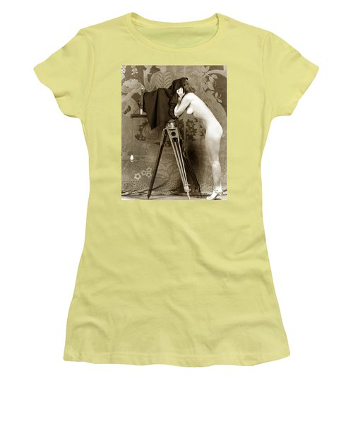 Nude In High Heel Shoes With Studio Camera Circa 1920 Women's T-Shirt (Athletic Fit)