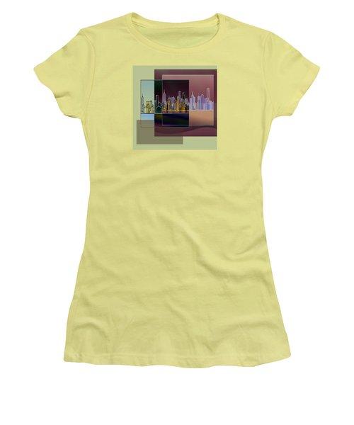 Women's T-Shirt (Junior Cut) featuring the digital art Nyc Abstract-3 by Nina Bradica