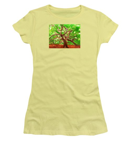 Women's T-Shirt (Junior Cut) featuring the painting Oak Tree by Magdalena Frohnsdorff