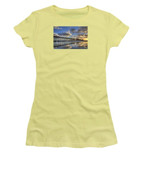 Oceanside Pier Sunset Reflection Women's T-Shirt (Athletic Fit)