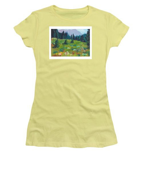 Women's T-Shirt (Junior Cut) featuring the painting Off The Trail by C Sitton
