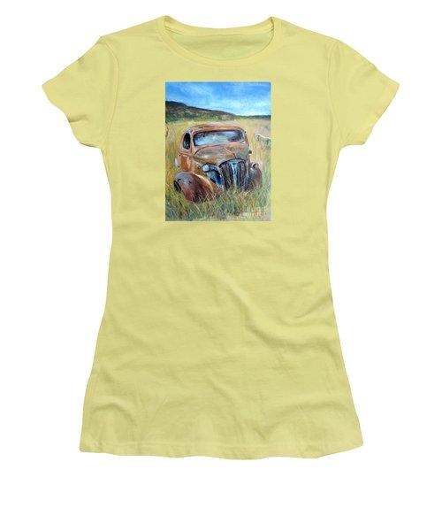 Women's T-Shirt (Junior Cut) featuring the painting Old Car by Jieming Wang