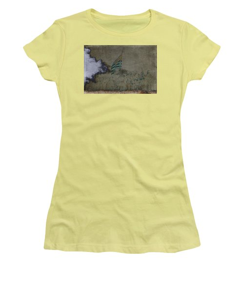 Old Glory Standoff Women's T-Shirt (Junior Cut) by Wes and Dotty Weber