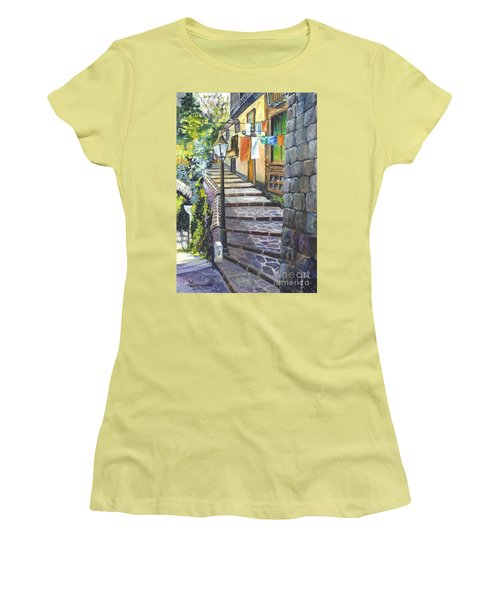 Old Village Stairs - In Tuscany Italy Women's T-Shirt (Athletic Fit)