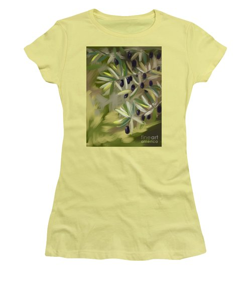 Women's T-Shirt (Junior Cut) featuring the painting Olive Tree by Go Van Kampen