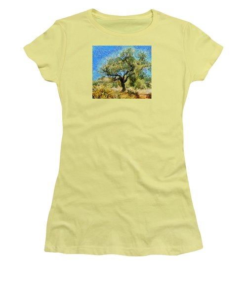 Olive Tree On Van Gogh Manner Women's T-Shirt (Athletic Fit)