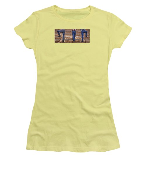 On The Fence Women's T-Shirt (Junior Cut) by Priscilla Burgers