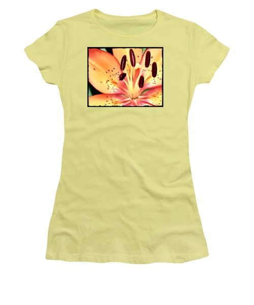 Orange And Pink Flower Women's T-Shirt (Athletic Fit)