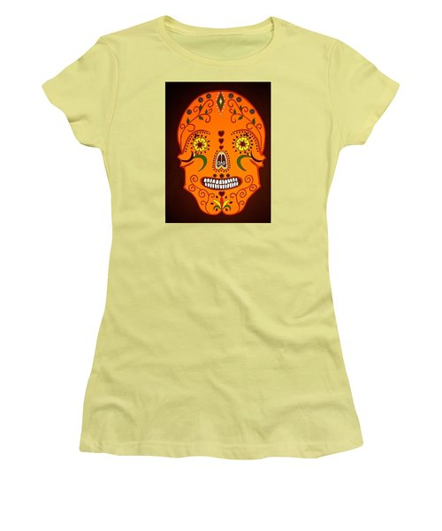 Orange Sugar Skull Women's T-Shirt (Athletic Fit)