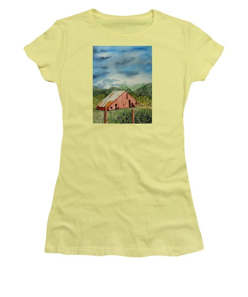 Women's T-Shirt (Junior Cut) featuring the painting Oregon Barn by Katherine Young-Beck