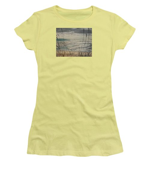 Oregon Coast With Sea Grass Women's T-Shirt (Athletic Fit)