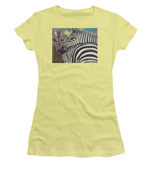 Women's T-Shirt (Junior Cut) featuring the painting Our Stripes May Be Different But Our Hearts Beat As One by Kimberlee Baxter