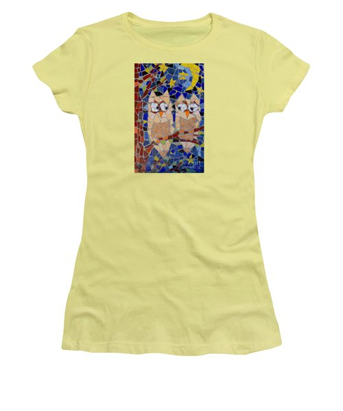 Women's T-Shirt (Junior Cut) featuring the painting Owl Mosaic by Lou Ann Bagnall