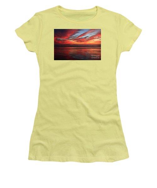 Women's T-Shirt (Junior Cut) featuring the photograph Oceanside Reflections by John F Tsumas