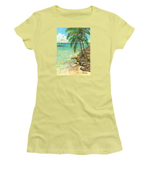 Women's T-Shirt (Junior Cut) featuring the painting Palms On Point Of Rocks by Lou Ann Bagnall