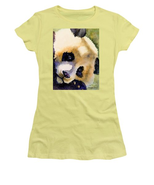 Women's T-Shirt (Junior Cut) featuring the painting Panda Cub by Bonnie Rinier