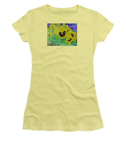 Pansies Colorful Flowers Floral Garden Art Painting Bright Yellow Pansy Original  Women's T-Shirt (Junior Cut) by Elizabeth Sawyer