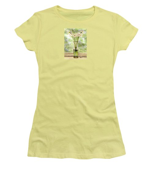 Women's T-Shirt (Junior Cut) featuring the painting Paper Whites In Sunlight by Angela Davies