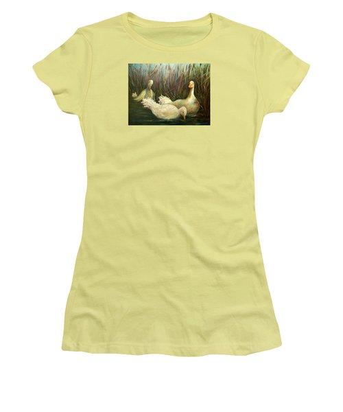Paradise Pond,ducks  Women's T-Shirt (Athletic Fit)