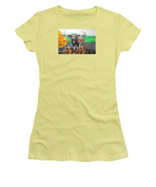 Women's T-Shirt (Junior Cut) featuring the painting Paths In The Soil  by Lazaro Hurtado