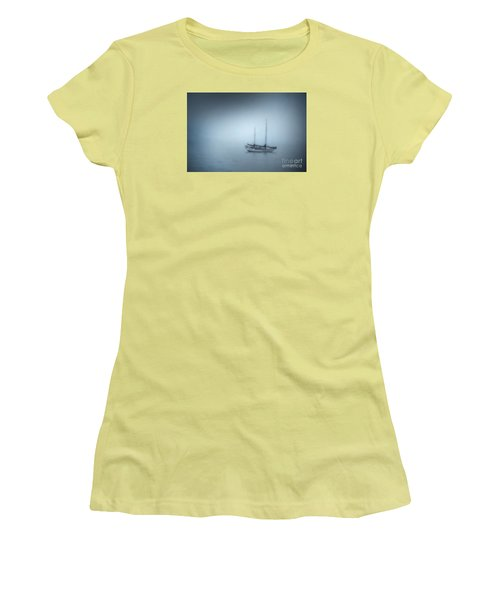 Peaceful Sailboat On A Foggy Morning From The Book My Ocean Women's T-Shirt (Junior Cut) by Artist and Photographer Laura Wrede