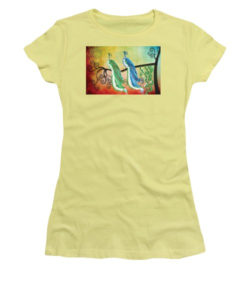 Women's T-Shirt (Junior Cut) featuring the digital art Peacock Love by Kim Prowse
