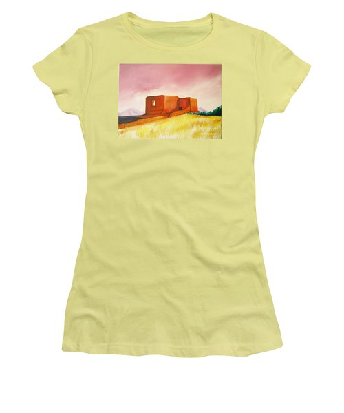 Women's T-Shirt (Junior Cut) featuring the painting Pecos Mission Nm by Eric  Schiabor