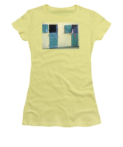 Women's T-Shirt (Junior Cut) featuring the photograph Peekaboo by Suzanne Oesterling