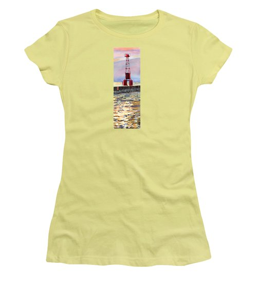 Pentwater South Pier Women's T-Shirt (Junior Cut) by LeAnne Sowa